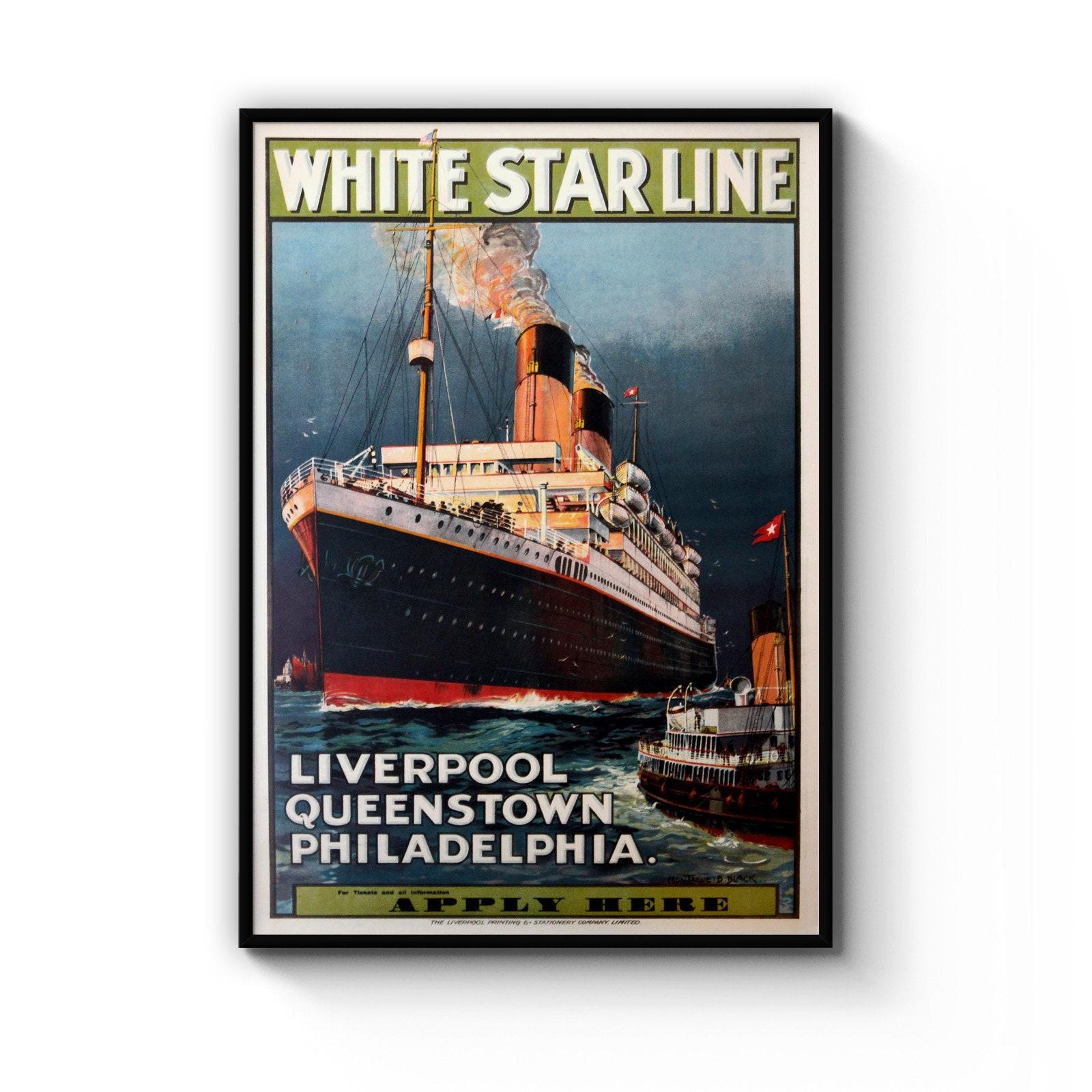 White Star Line Liverpool Philadelphia A4 Vintage shipping travel poster