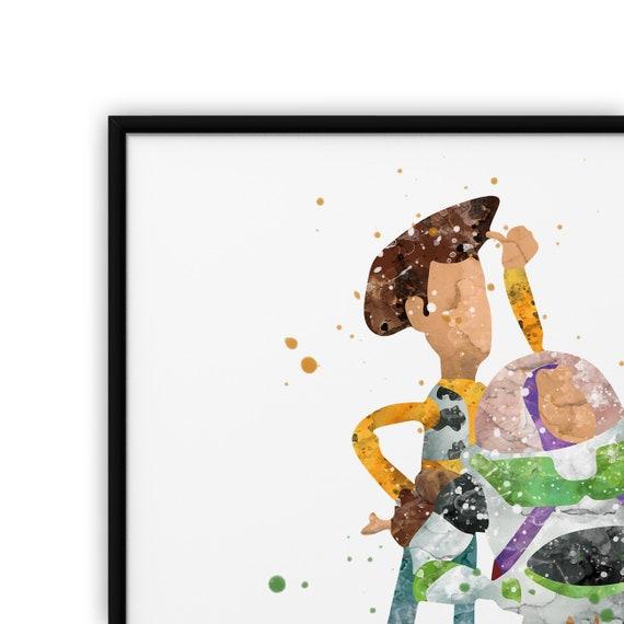 A4 to B1 Framed Toy Story Woody Buzz Lightyear Nursery Decor Art Print Poster