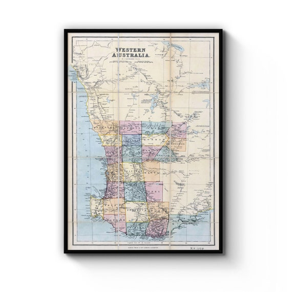 A4 B1 Framed Vintage Map of Australia Detailed Old Classic Art Print Poster