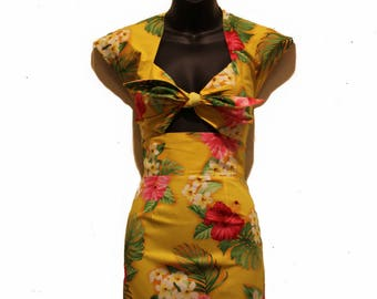 50s Hawaiian Tiki Wiggle Dress, Rockabilly, Pin Up, 50s Dress, Vintage, Retro for Women - Nalani in Yellow/Tropical/Floral - Hawaiian Print