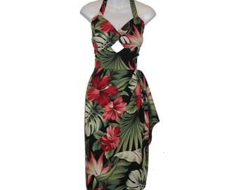 50s Hawaiian Tiki Sarong Dress, Wrap Dress, Rockabilly, Pin Up, Vintage, Retro, Tropical/Floral – Hawaiian Print, Choose Your Own Fabric