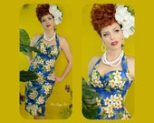 Lokelani 50s Hawaiian Wiggle Dress - Rockabilly Pin Up Customize Style, Measurements or Fabric