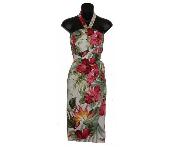 Plus Size Haukea 50s Hawaiian Sarong Wrap Dress, Customize Style,  Measurements, or Fabric -Rockabilly Pin Up