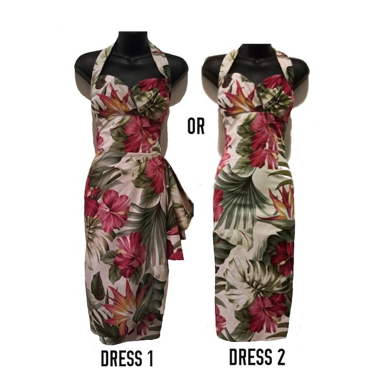 50er Jahre Hawaiian Sarong Wickelkleid Anpassen Stil Maße Etsy
