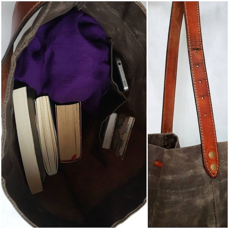 Special Mother's Day gift. Brown Leather & Canvas Bag