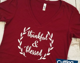 Thankful & Blessed Shirt, Thankful and Blessed Shirt, Fall Shirt, Thanksgiving Shirt, Autumn Shirt, Thankful Shirt