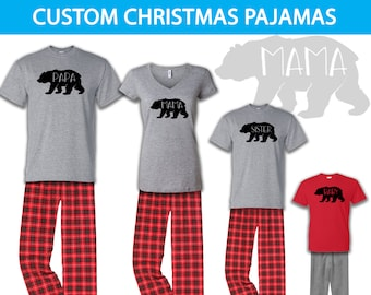 d4a4fb0801 Bear Family Pajamas, Family Christmas Pajamas, Infant Toddler Youth Christmas  Pajamas, Holiday Pajamas, Bear Family