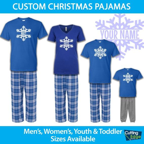 Family Christmas Pajamas Blue.Personalized Christmas Snowflake Pajamas Family Christmas Pajamas Infant Toddler Youth Christmas Pajamas Holiday Pajamas