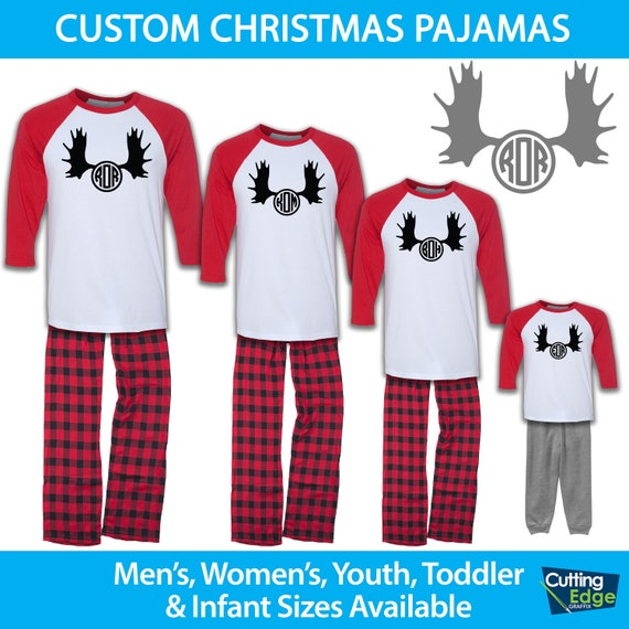 2fd4d8204566 Moose Monogram Raglan Family Pajamas Family Christmas