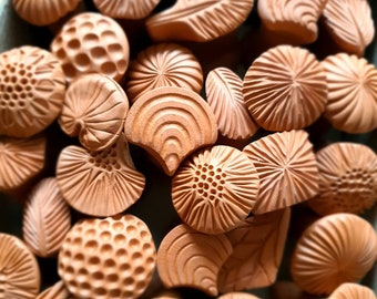 Ceramic Stamps / Clay Stamps / Tools for Ceramics / Pottery supply / Bisque Clay Stamps / Hand Carved Stamp / Set of 3 double-ended stamps
