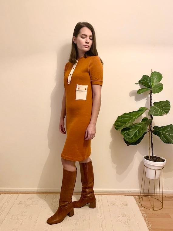 60's wool knit dress / mod mini dress - image 2