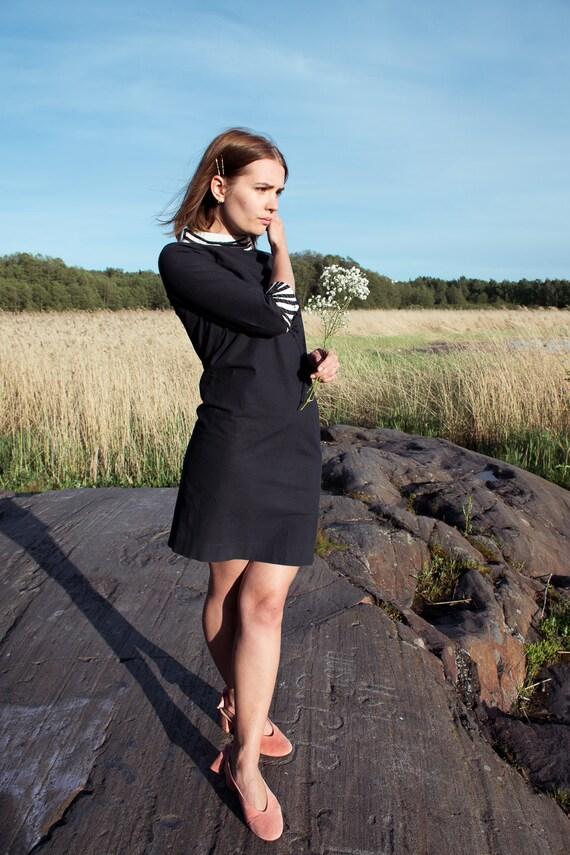 60's Vuokko mini dress / stand up collar / little