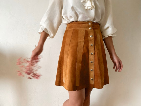 60's / 70's suede mini skirt / patch work / leathe