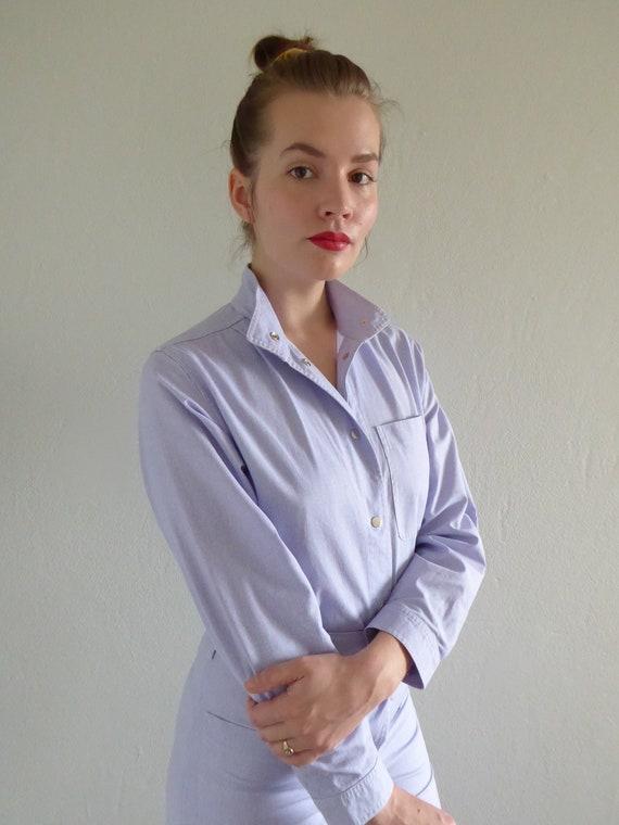 Vintage Vuokko jumpsuit / overalls, baby blue stri