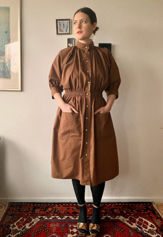Vintage Vuokko dress / brown midi cotton dress