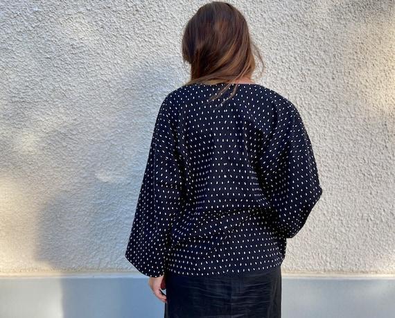 Vuokko kimono jacket / black and white printed co… - image 4