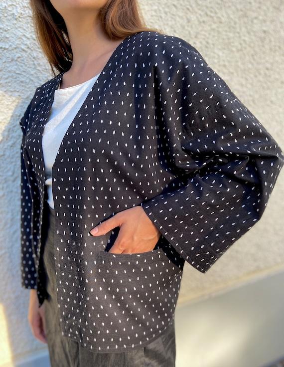 Vuokko kimono jacket / black and white printed co… - image 3
