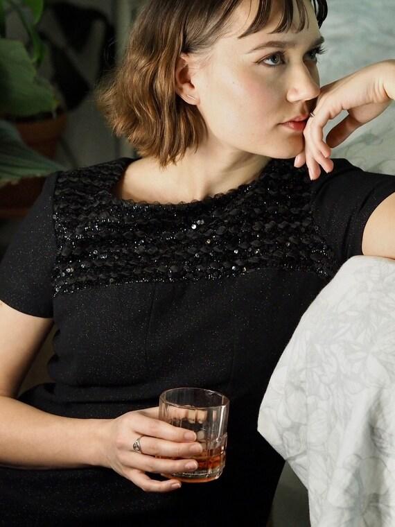 60's cocktail dress / little black dress / glitter