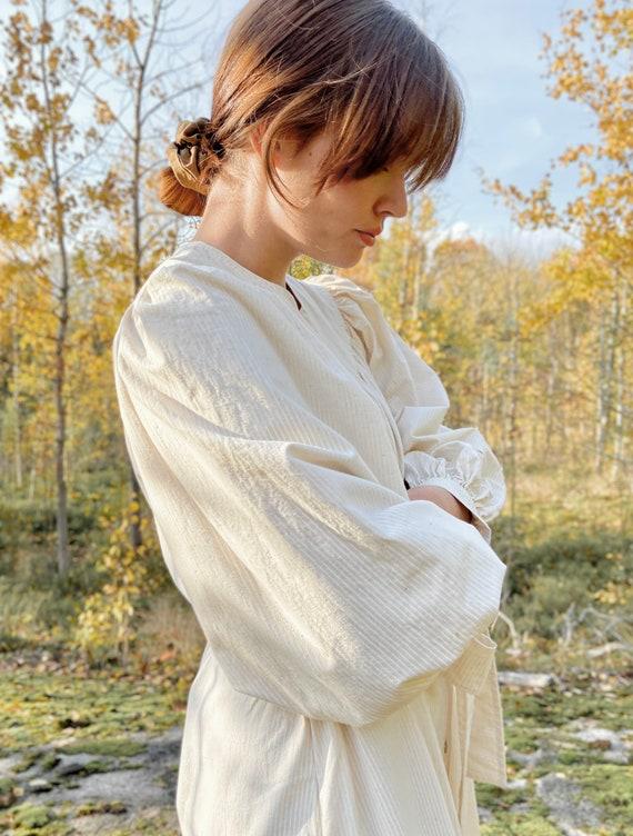 Vintage Vuokko dress / cream cotton midi dress