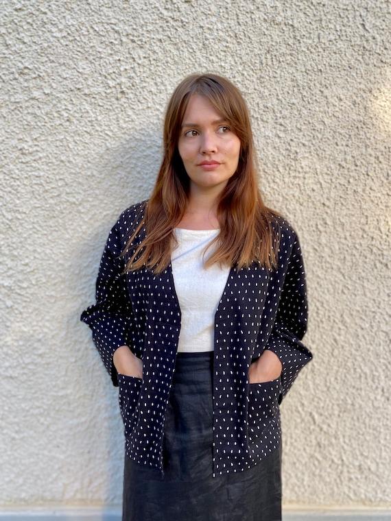 Vuokko kimono jacket / black and white printed co… - image 2