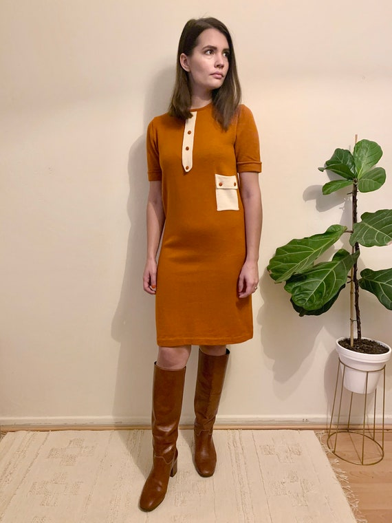 60's wool knit dress / mod mini dress