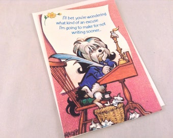 Vintage Greeting Card Shaggy Dog