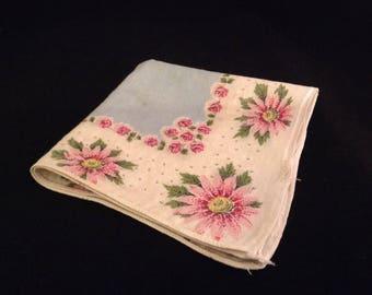 Vintage Handkerchief- Pink Daisy and Rose Floral Handkerchief