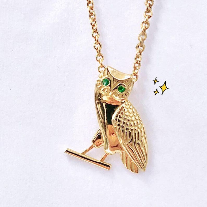 e4f5b33b0 Solid Gold Charm Necklace Gold Owl Necklace Gold Owl   Etsy