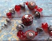 Southwest Boho Beaded Necklace, Red Beaded Necklace, Southwest Jewelry, Boho Jewelry, Boho Necklace, Southwestern Necklace, Hippie Jewelry