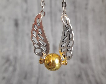 The Golden snitch Necklace: Golden Snitch Jewelry/ Necklace/ Harry Potter Jewelry/ Harry Potter Inspired Golden Snitch Necklace/ Quidditch