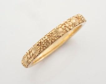 Victorian Style Ring - Vintage Antique Botanical Wedding Band in 14 karat Solid Gold
