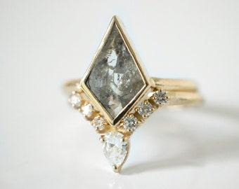 Kite Raw Diamond Engagement Ring, Wedding, Ring in 14K solid gold