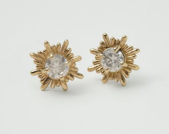 Rainbow Moonstone Sun Ray Good Luck & Light Stud Earrings in 14K solid gold