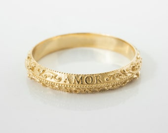 Antique Wedding Ring Latin Letters - Victorian Vintage Wedding Band in 14 karat Solid Gold