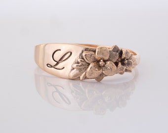 Floral Signet Ring Lily ring with engraved initials in 14K solid gold