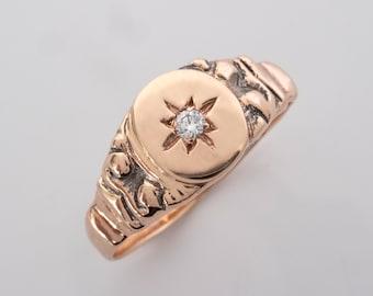 Edwardian Antique style Signet Ring with Star Set Diamond