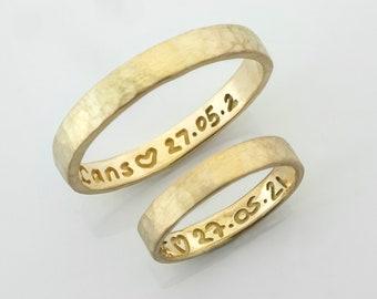 Custom Handwriting Engraved and Hammered Unisex Wedding Band