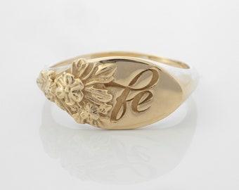 Floral Signet Engraved Ring in 14 karat Solid Gold