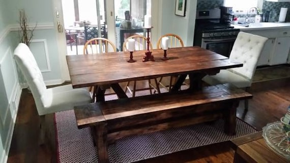 Fabulous 7 Ft Farmhouse Table And Bench Set Pabps2019 Chair Design Images Pabps2019Com