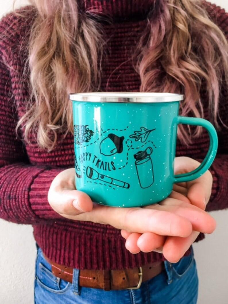 Enamel Mug  Illustrated Mug  Happy Trails Mug  Outdoorsy image 0