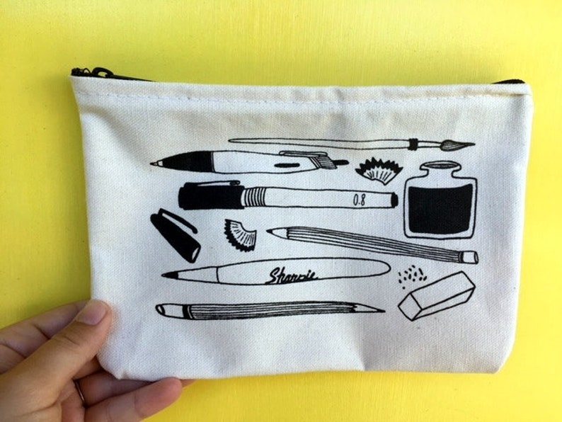 Illustrated Zip Pouch Pencil Bag Zippered Bag