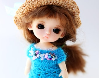 Outfit for Lati White doll - Clothes for tiny doll - Dress for Lati doll - Shoes for Lati White - Raffia hat for bjd doll