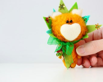 Mr. Christmas Tree - OOAK Collectible Miniature Teddy Bear - Blythe friend - New Year Gift!