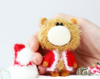 Mr. Santa Claus - OOAK Collectible Miniature Teddy Bear - Blythe friend - New Year Gift!