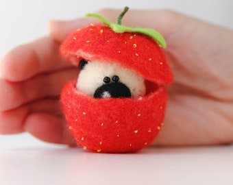 Mr. Strawberry - OOAK Collectible Micro teddy bear. Miniature Artist teddy bear. Friend for doll.