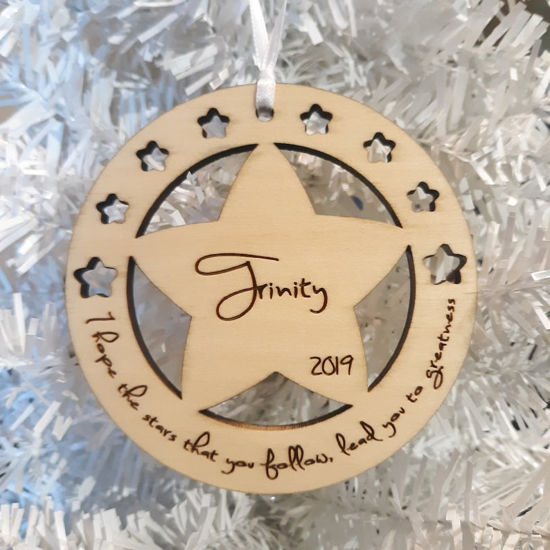 Christmas Star with Gift Box  Wood Christmas Ornament Christmas Ornament lead you to Greatness I hope the Stars that you follow