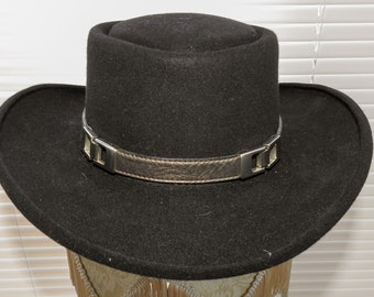 90b73495ec6c6 Bronze Metallic   Silver Buckle Accents Genuine Leather Hatband Hat Band Western  Cowboy Cowgirl Rodeo