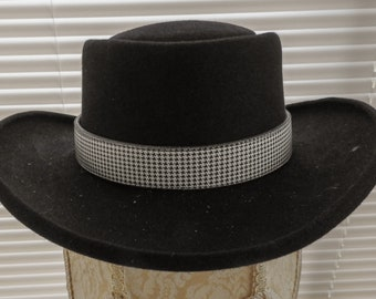 f433aae85f134f Black & White HOUNDS TOOTH Leather Hatband Hat Band Woman Man Unisex Cowboy  Cowgirl Rodeo Western