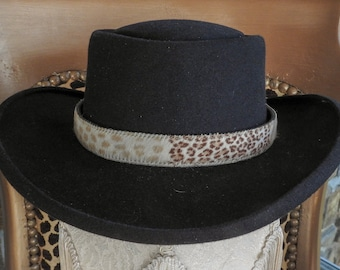 d77b4947823 Genuine Animal Print (Leopard Zebra Tiger) Cowhide Hair On Leather Hatband  Hat Band Western Cowboy Cowgirl Rodeo