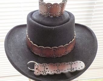 6854c6724a3 Vintage Hippie Brown Leather Hatband Hat Band Bracelet   Keychain Woman Man  Unisex Cowboy Cowgirl Rodeo